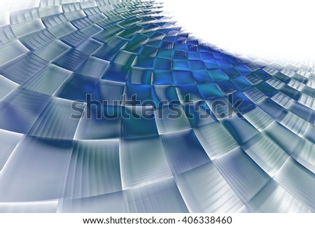 Intricate blue / green / purple curved checkered pattern on white background  - stock photo