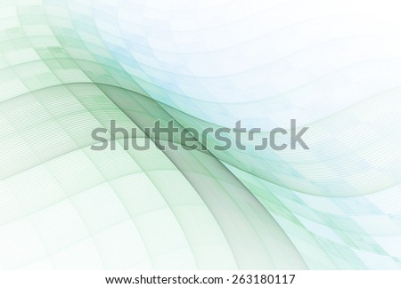 Intricate blue / green / teal abstract checkered wave design on white background