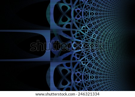 Intricate blue / green woven pattern on black background - stock photo