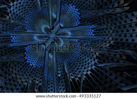 Intricate blue, grey and silver ornate abstract woven flower / cross design on black background