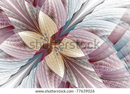 Intricate blue, mauve and yellow abstract fractal wings / flower on white background - stock photo