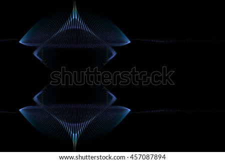 Intricate blue / purple abstract diamond / string design on black background - stock photo