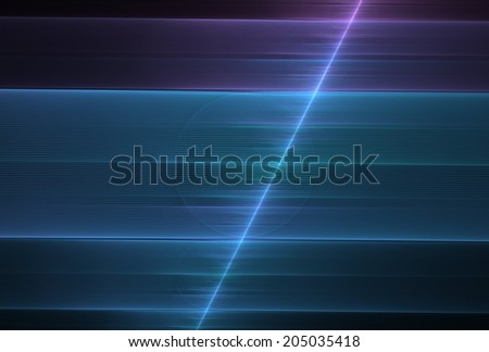 Intricate blue / purple abstract split string design on black background - stock photo