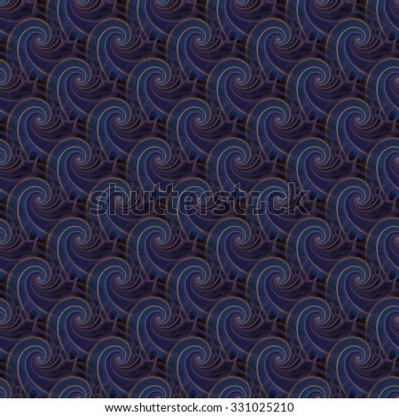 Intricate blue, purple and gold abstract woven wave design on black background - stock photo