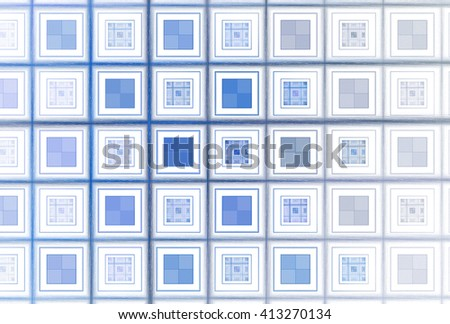 Intricate blue / silver abstract checkered square pattern on white background - stock photo