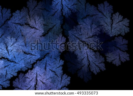 Intricate blue / silver abstract textured design on black background