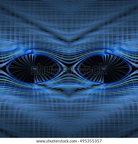 Intricate blue, silver and grey abstract ripple mask design on black background