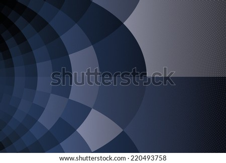 Intricate blue / silver curved fabric / gauze design on black background - stock photo