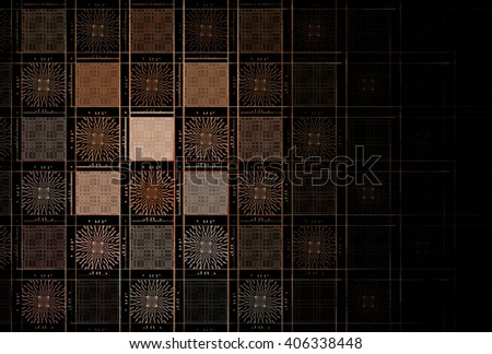 Intricate blue /teal abstract square / checkered design on black background  - stock photo