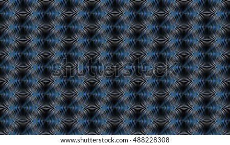 Intricate blue / white abstract woven ripple design on black background (tile able)