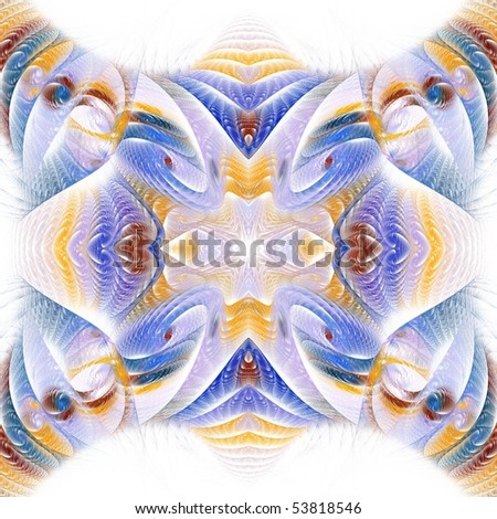 Intricate blue, yellow and brown textured fractal on white background - stock photo
