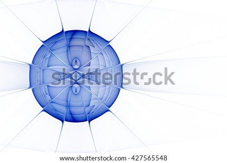 Intricate, bright blue abstract woven sphere design on white background
