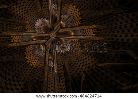 Intricate brown, orange and copper ornate abstract woven flower / cross design on black background