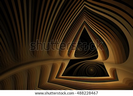 Intricate copper / brown abstract woven spiral triangle design on black background