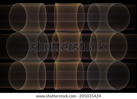 Intricate copper, gold and silver abstract string cylinders on black background - stock photo