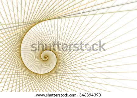 Intricate copper / gold woven abstract string spiral design on white background  - stock photo