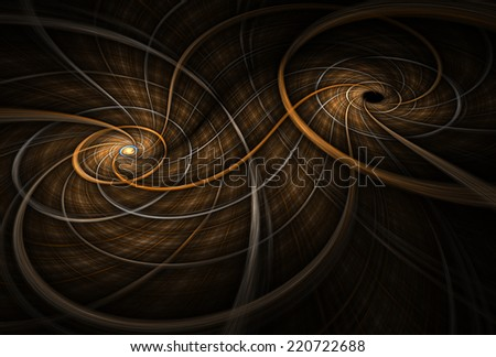 Intricate copper / orange woven double spiral design on black background - stock photo