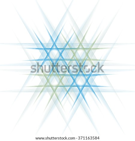 Intricate cyan / blue / green abstract woven star of David design on white background  - stock photo