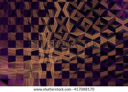 Intricate gold and purple abstract woven / checkered design on black background - stock photo