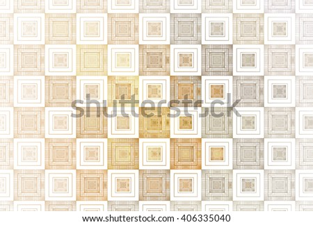 Intricate gold / copper repeating square pattern on white background  - stock photo