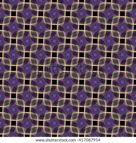 Intricate gold / purple abstract woven diamond design on black background (tile able) - stock photo