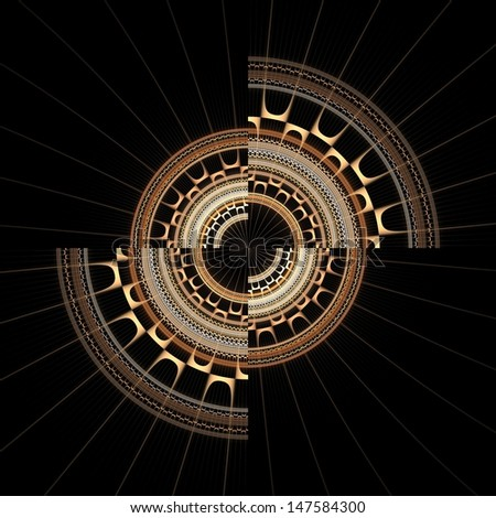 Intricate gold, silver and copper abstract disc / cog on black background