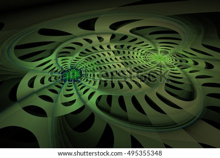 Intricate green abstract woven 3D disc design on black background