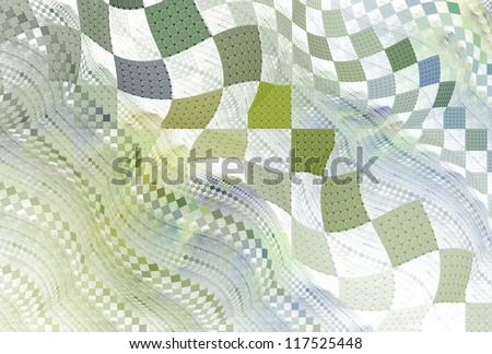 Intricate green and purple abstract floating square design on white background - stock photo