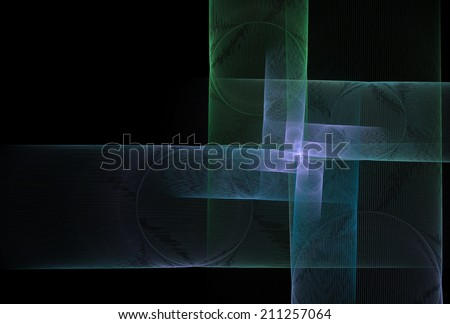 Intricate green, blue, purple abstract square spiral design on black background - stock photo