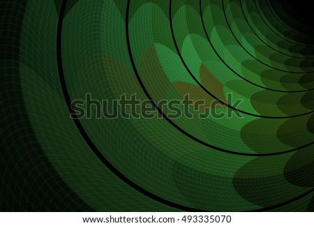 Intricate green / brown abstract curved ripple design on black background