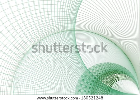 Intricate green checkered woven curve / arch on white background - stock photo