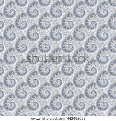 Intricate grey / silver and beige abstract spiky spiral design(tile able) - stock photo