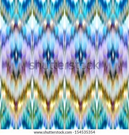 intricate ikat pattern background, colorful fashion fabric ornament - stock photo
