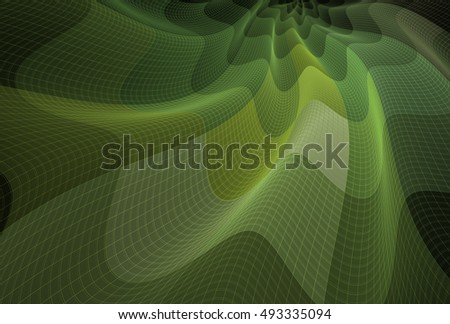 Intricate lime / green abstract wavy flowing fabric on black background
