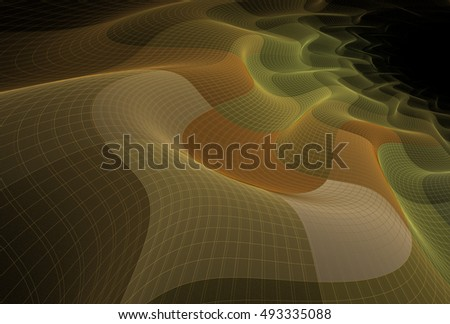 Intricate orange / peach abstract geometric wave design on black background