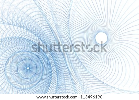 Intricate pale blue / navy cog / spring design on white background