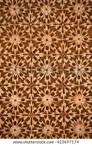Intricate pattern on the walls of historic Paigah tombs in Hyderabad, Rajasthani and deccan style architecture - stock photo