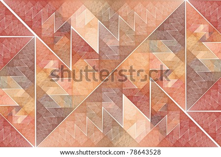 Intricate peach, orange and red abstract tiled triangles on white background (tile able) - stock photo