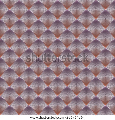 Intricate peach / purple abstract woven string diamond design on white background (tile able)  - stock photo
