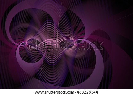 Intricate pink and purple abstract woven diamond / curve design on black background