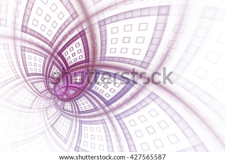 Intricate pink and purple modern flower design on white background