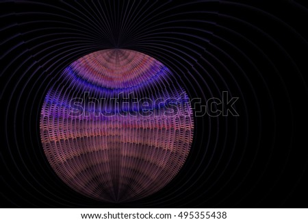 Intricate pink, peach and purple abstract woven ripple / disc design on black background