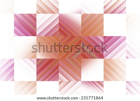 Intricate pink, peach, orange woven diamond checkered design on white background  - stock photo