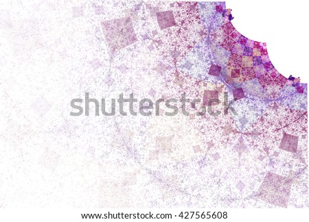 Intricate pink, purple and peach abstract connected diamond design on white background  - stock photo