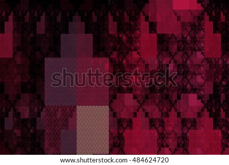 Intricate pink, purple and peach abstract rectangle pattern on black background