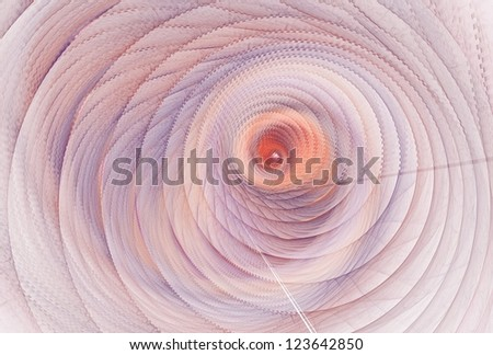Intricate pink, purple and peach abstract textured spiral ripple on white background