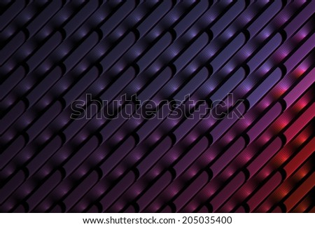 Intricate pink, purple and red abstract woven design on black background  - stock photo
