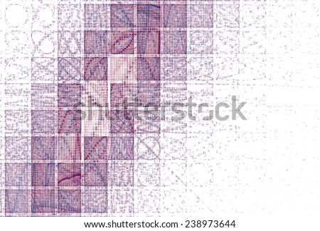 Intricate pink / purple tiled mosaic design on white background  - stock photo