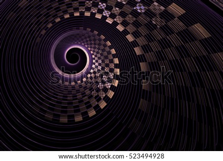 Intricate purple and copper abstract checkered string spiral design on black background