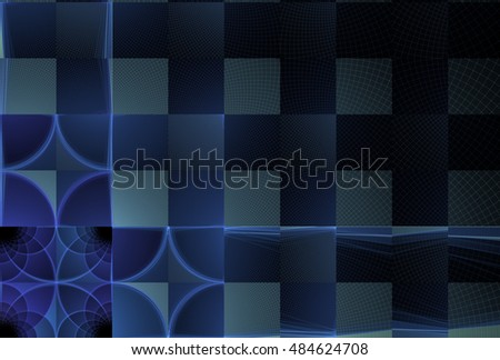 Intricate purple and teal abstract woven diamond / flower design on black background